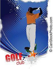 bater, golfer, bola, ferro, club.