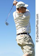 bater, golfer, bola
