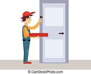 bater, ilustração, porta, homem, vetorial, entrega