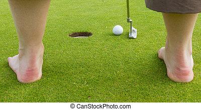 bater, jogador, bola, golfe