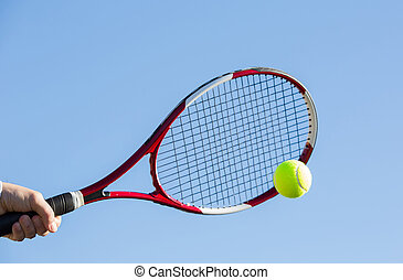 bater, jogador, bola tênis