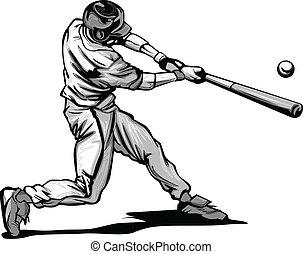 bater, massa basebol, vecto, passo