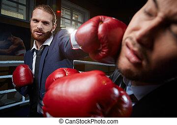 bater, rival, negócio