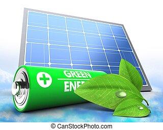 bateria, 3d, painel solar