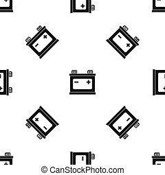 bateria, car, pretas, seamless, padrão