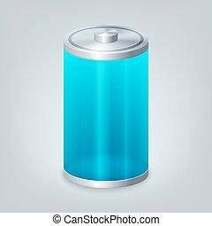 bateria, com, a, total, nível, de, débito