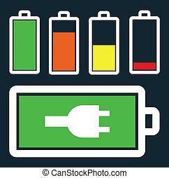bateria, débito, jogo, nível