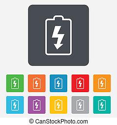 bateria, encarregando, sinal, icon., relampago, símbolo.