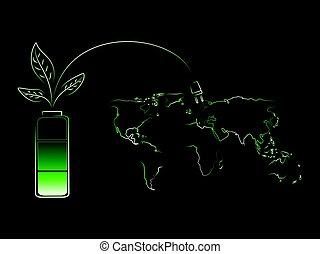 bateria, energia, encarregando, verde, mundo, folhas, renovável
