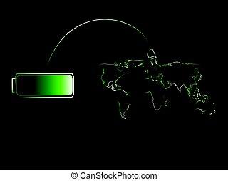 bateria, energia, verde, mundo, encarregando, renovável