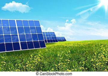 bateria, energy., solar