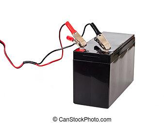 bateria, fundo branco, isolado, selado