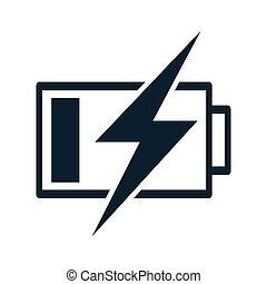 bateria, ikona, cienki, ładujący
