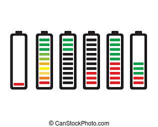 bateria, indicators., débito, jogo, nível