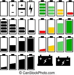 bateria, jogo, ícones