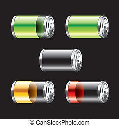 bateria, komplet, wektor, ilustracja
