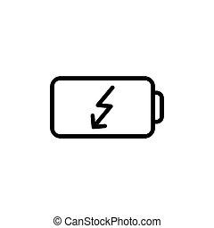 bateria, kreska, cienki, ikona