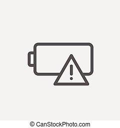 bateria, kreska, cienki, opróżniać, ikona