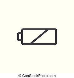 bateria, kreska, ikona