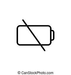 bateria, kreska, niski, cienki, ikona