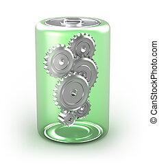 bateria, noski, pojęcie, odizolowany