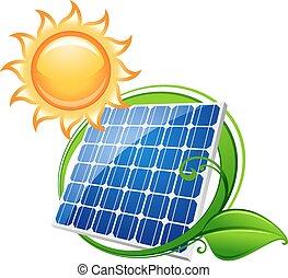 bateria, ou, painel solar