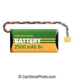 bateria, potężny, ładujący, ilustracja, odizolowany