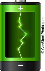 bateria, power., conceito, illustration., vetorial