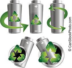 bateria, reciclagem, jogo, vetorial