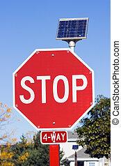 bateria, sinal, solar, parada, acionou