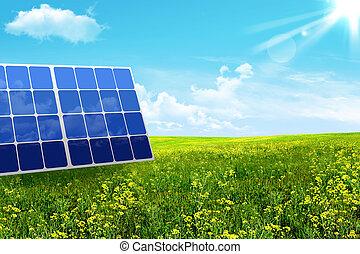 bateria, solar