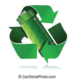 bateria, symbol, recycling