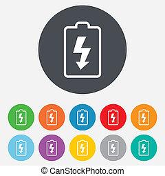 bateria, symbol., znak, icon., piorun, ładujący