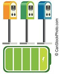 bateria, wóz, elektryczny, rumak