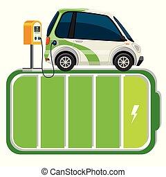 bateria, wóz, elektryczny, stać