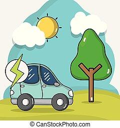 bateria, wóz, energia, koszt, elektryczny