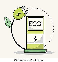 bateria, wóz, energia, stacja, recharge