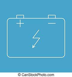 bateria, wóz, kreska, cienki, ikona