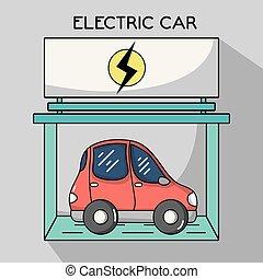 bateria, wóz, stacja, elektryczny, recharge