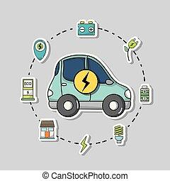 bateria, wóz, technologia, elektryczny, recharge