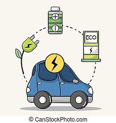 bateria, wóz, technologia, przewóz, elektryczny