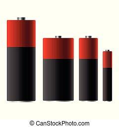 bateria, wektor, projektować, ilustracja