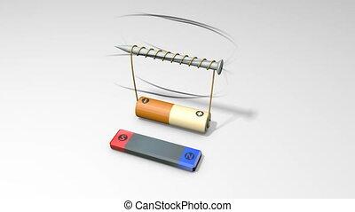 bateria, zwoje, pole, magnetyczny