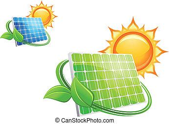 baterias, painéis, solar