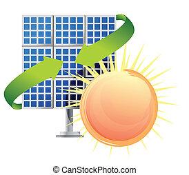 baterias, painel, solar, sol
