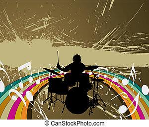 baterista, grupo, rocha