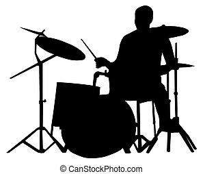 baterista, silueta