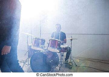 baterista, tambores jogo, fase