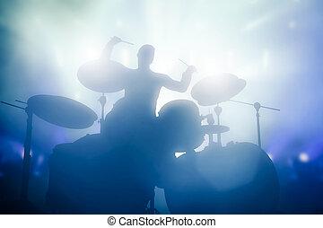 baterista, tocando, ligado, tambores, ligado, música, concert., clube, luzes