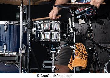 baterista, tocando, ligado, um, concerto